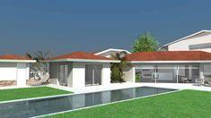 maison contemporaine avec patios et grandes baies vitrées