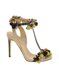 8c6b065b7ee9 Enlarge ASOS HIPPIE SHAKE Leather Sandals With T-Bar Pom Pom Detail Pom Pom  Sandals
