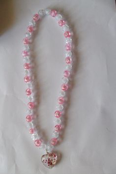 Collana per bimba con perle e ciondolo cuore