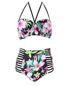 MILANKERR Womens Plus Size Vintage Floral High-waist Bikini Swimwear Beach Swimsuit