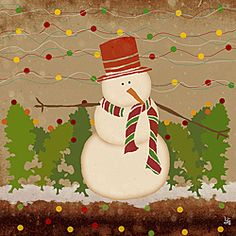 @Overstock - White snowman with christmas accesories on brown background and colorful circleshttp://www.overstock.com/Home-Garden/Ankan-Snowman-Gallery-Wrapped-Canvas-Art/6407804/product.html?CID=214117 $31.99