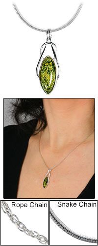 Green Amber Celtic Necklace at The Animal Rescue Site $19.95