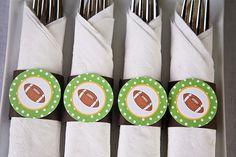 Football Napkin Rings Baby Shower- Brown & Green