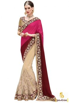 Explore your royal personality in this impressive multi color net satin modern Indian party wear saree online shopping collection with reasonable cost at women ethnic wear store pavitraa fashion. #saree, #designersaree more: http://www.pavitraa.in/store/designer-collection/