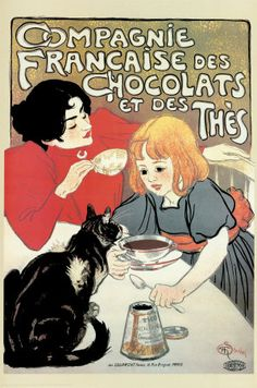 Compagnie Francaise des Chocolats   This is a fine art giclee print of a vintage French advertising art poster in Paris, France for Compagnie Francaise des Chocolats Tea & Chocolate Milk, by Theodolphile Steinlen. It features a little girl enjoying tea & chocolate milk with her mom.*