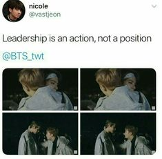 I love the fact that he's there for all the members, he's a really good leader. (Also just gonna mention that the thing the pic is from is from Burn The Stage where V and Jin had a fight ) Vkook Memes, Bts Memes, Namjin, Steven Universe, V And Jin, Bts Quotes, Army Quotes, Movie Quotes, Bts Tweet