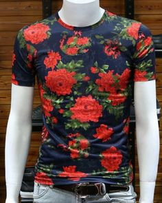 Womens Ladies Jersey Side Flower Roses Embroidery Short Sleeve Pullover T Shirt