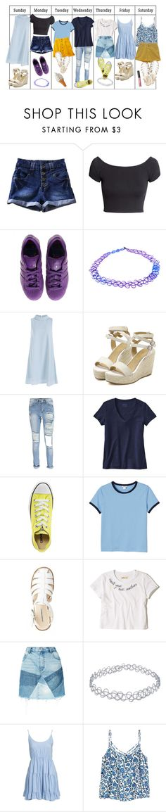 """""""Week Two"""" by weirdestgirlever ❤ liked on Polyvore featuring H&M, adidas, Accessorize, Boohoo, Patagonia, Converse, Monki, Hollister Co., PRPS and Jeane Blush"""