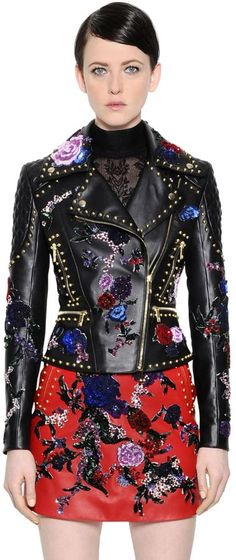 Floral Embellished Leather Biker Jacket   LUISAVIAROMA saved by #ShoppingIS