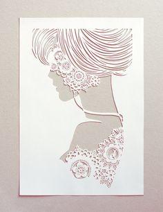 Lace - papercut silhouette - handcut white papercut poster by papercutout on etsy