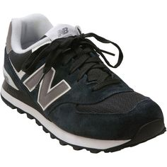 New Balance Unisex 574 Sneaker (£49) ❤ liked on Polyvore featuring shoes, black, kohl womens shoes, blue suede shoes, narrow shoes, black lace up shoes and laced up shoes