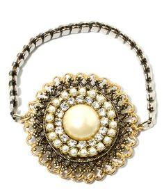 Large Pearl & Crystal Bracelet