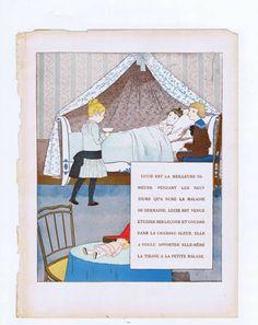 French Children Print Little Nurse Lucie Original Antique Vintage Color Book Plate by De Monvel