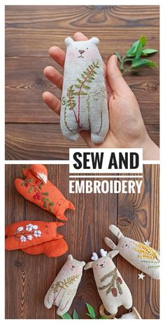 Embroidery Art, Embroidery Stitches, Embroidery Patterns, Sewing Patterns, Fabric Toys, Fabric Art, Fabric Crafts, Sewing Toys, Sewing Crafts