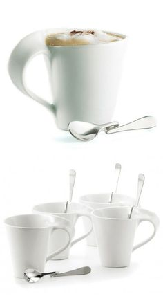 Mugs with Unique Bent Spoon Set // Spoon rest On Cup Rim!