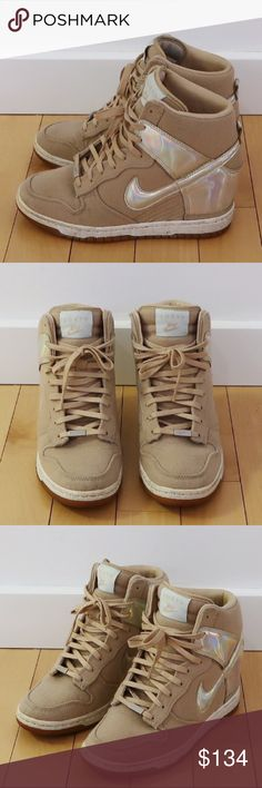 "Nike Dunk Sky Hi QS City (Tokyo) Wedge Sneakers Part of the limited edition ""City Pack"" release featuring the fashion capitals of the world.  Brand: Nike Style: Wedge Sneakers Color: Tan Size: 6.5 Fit: True to Size Condition: Very Good • Worn many times but shows no visible signs of wear • There's a slight scuff on the outer left reflective material but can't be seen when worn - please reference picture  ✅ Open to Offers ✅ Nike Shoes Sneakers"