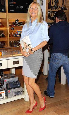 Gwyneth Paltrow in Stella McCartney shirt at Its All Good book signing