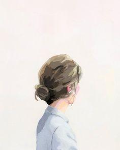 hair art - bun print - Bun 1 elizabeth mayville watercolor