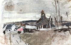 Gable End sold by Bonhams, Edinburgh, on Wednesday, December 2012 Watercolor Landscape, Landscape Art, Landscape Paintings, Landscapes, Winter Landscape, Environment Painting, Abstract City, Glasgow School Of Art, Smart Art
