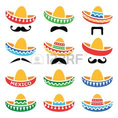 Buy Mexican Sombrero Hats by RedKoala on GraphicRiver. Vector icons set of Sombrero isolated on white FEATURES: Vector Shapes All groups have names All elements are e. Mexican Sombrero Hat, Mexican Hat, Taco Party, Vector Shapes, Vector Icons, Thinking Day, Moustache, Clipart, Mexico