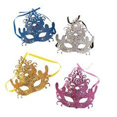 $16 per dozen Glittered+Venetian+Mardi+Gras+Masks+-+OrientalTrading.com