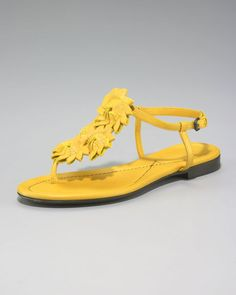 9ab9ffeeab7 Women s Yellow Sunflower Origami Thong Sandal. Bottega Veneta ...
