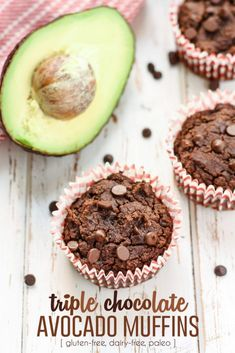 These Triple Chocolate Avocado Muffins are going to be your new healthy favorite! These muffins only have 6 grams of fat, plus 4 grams of protein and 5 grams of fiber to help keep you satisfied. Perfect for a gluten free, dairy free, paleo breakfast. Dairy Free Chocolate Chips, Chocolate Muffins, Healthy Chocolate, Chocolate Making, Stevia Chocolate, Avocado Muffins, Avocado Toast, Avocado Dessert, Fudge