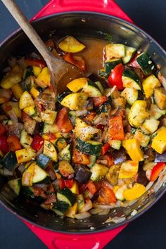Ratatouille Inspired Summer Veggie Dish - Can't wait to try this...will roast the veggies and then make a roasted tomato sauce (Thanks Baked Bree!) to go over