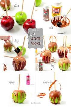 How to make Faux Candy Apples for Pretend Play * DIY Photo Instructions * No Sew Fake Food Fun! Apple Decorations, Candy Christmas Decorations, Christmas Candy, Fake Cupcakes, Fake Cake, How To Make Caramel, Making Caramel, Food Crafts, Diy Food