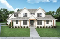 Looking for a modern farmhouse? Check out this cool and stylish country style home. It gives you farmhouse flair and cool curb appeal. Questions? Call 1-800-447-0027 today. #architect #architecture #buildingdesign #homedesign #residence #homesweethome #dreamhome #newhome #newhouse #foreverhome #interiors #archdaily #modern #farmhouse #house #lifestyle #designer Farmhouse Design, Farmhouse Style, Country Style, 5 Bedroom House Plans, Farmhouse Floor Plans, Custom Home Plans, Pole Barn Homes, Building Design, How To Plan