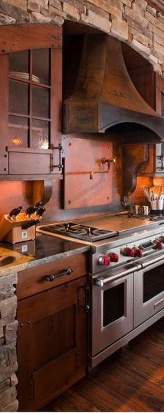 Beautiful! colors, glass, hardware Terra Firma Custom Homes | Rustic Kitchen