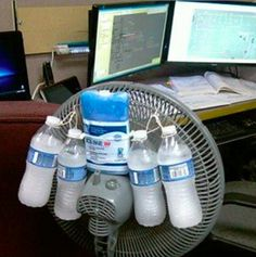 """You gotta do what you gotta do to stay cool."" -- This is true. I have, unfortunately, set up a similar contraption in my previous car. (oh, and also pointed a fan directly at my computer to keep it operable) Being a poor college student sucks."