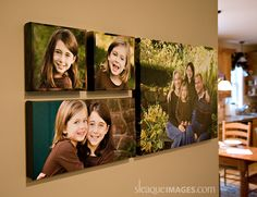 gallery wrapped canvas groupings don't require a frame since the canvas wraps around the edge of the frame.  These look great together since there is no frame blocking the eye as it travels from one image to the next.  I love the combination of shapes and colors here.  Great idea!