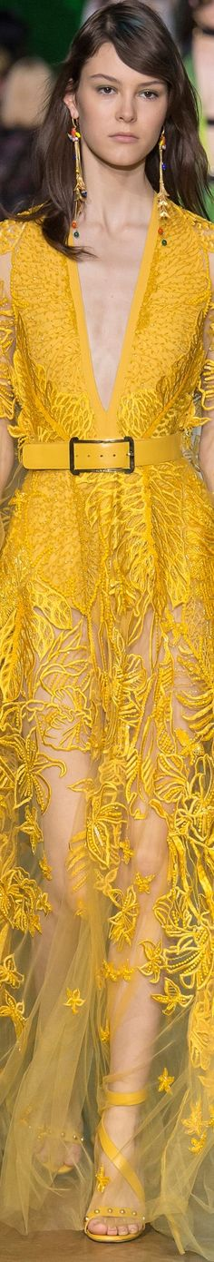 Elie Saab Spring 2018 RTW. a runway version of one of the hottest colors I'm seeing this season. marigold yellow is everywhere, from runway to forever21.