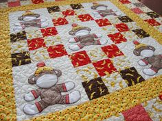 Sock Monkey Crib Quilt via Craftsy