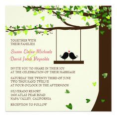 Love Birds Wedding Invitations Love Birds Falling Hearts Oak Tree Wedding Invite