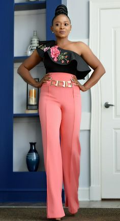 High waist buckle details pant Content poly spandex Available in orange Ankara Dress Designs, Street Girl, Girls Pants, African Fashion, Designer Dresses, Jumpsuit, Spandex, Orange, Overalls