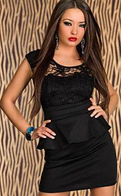 Zwarte Zonnebloem Lace peplum jurk (Bust :86-... – EUR € 13.85
