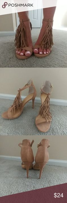Express Size 9 fringe heel toe ankle strap Worn once.  Excellent condition Express Shoes Heels