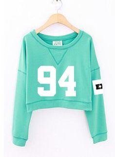2015 moda mulheres de número impresso cropped com capuz kpop exo primavera outono hoodies de curta verde sudadera mujer