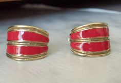 Vintage Antique Ernst Gideon Bek Silver Plated and Red Enameled Half Hoop Clip Earrings by GemstoneCowboy on Etsy