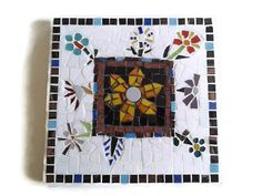 Glass Mosaic Trivet , Mosaic Art , Kitchen Decor ,Table Decoration , Home Decoration , White Black