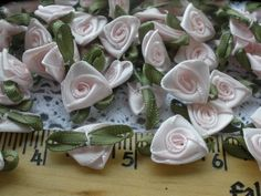 "Set of 12 Doll Ribbon Roses Flowers 1//2/"" Light Aqua Blue Dozen Crafts Sewing"