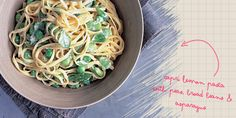Maria Elia's capri lemon pasta with peas, broad beans and asparagus