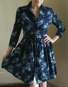 Gap Floral Denim 100% Cottom Dress Botton Down Dress Longsleeve Cute!! Sz. S