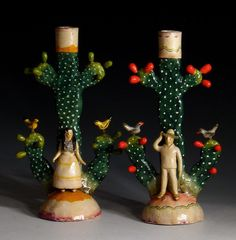 """Pair of candelabras"" signed: Heriberto Castillo, Izucar de Matamoros, Mexico Cold painted ceramic, circa 1970"