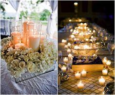 Tea Lights Candle Wedding Centerpiece Ideas / http://www.deerpearlflowers.com/43-romantic-wedding-ideas-with-candles/2/