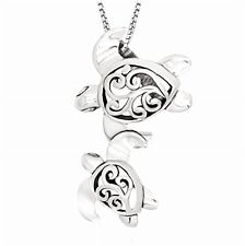 """18"""" 925 Sterling Silver Necklace Filigree Mother Mom and Baby Sea Turtle Pendant"""