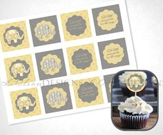 Stacked Elephants Cupcake Toppers  Yellow  DIY by LOlsonDesigns