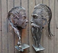 Metal Sculpture Artists, Human Sculpture, Metal Wall Sculpture, Wall Sculptures, Metal Art Projects, Metal Crafts, Metal Garden Art, Scrap Metal Art, Junk Art